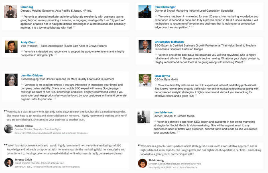 More SEO services reviews and testimonials about Veronica's SEO work