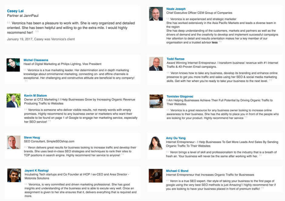 SEO services reviews and testimonials about Veronica's SEO work